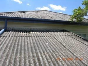 Asbestos to roof of a building
