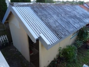 Asbestos roof of a garage