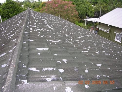 Metal tile roof damage