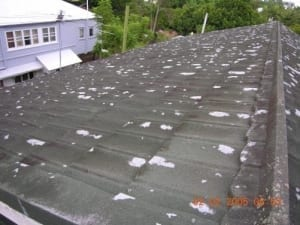 Damage to metal tile roof