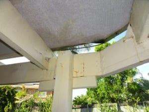 Pergola structure in danger of collapsing