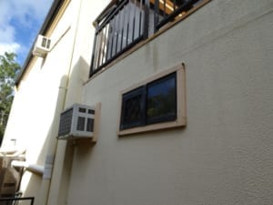 Exposed balcony allowing seepage to house interior